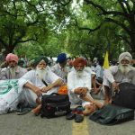 HELOTS WE ARE NOT: Farmers shout slogans during a protest organised by Rastriya Kisan Mahashangna (RKM) in favour of their demands , in New Delhi, UNI