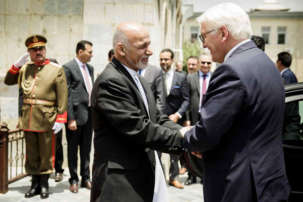 GOOD DAY: Afghanistan president Ashraf Ghani welcomes his German counterpart Frank-Walter Steinmeier at the Gulkhana-Palace in Kabul, Afghanistan, Reuters/UNI
