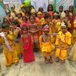 LITTLE KRISHNAS: Schoolchildren dressed-up as Lord Krishna and Sri Radha during Janmashtami celebrations at their school in Mirzapur, UNI