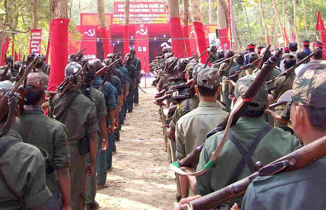 A train hijacked by Maoists in Bihar