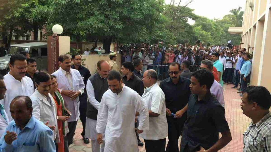 Rahul Gandhi visits Gorakhpur, CM Adityanath targets him and blames previous govts for deaths