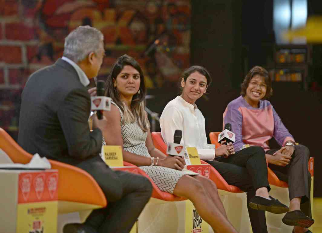 THREE HEROES: Members of Indian women's cricket team Veda Krishnamurthy, Smriti Mandhana and Jhulan Goswami at the India Today Mind Rocks 2017, in New Delhi, UNI