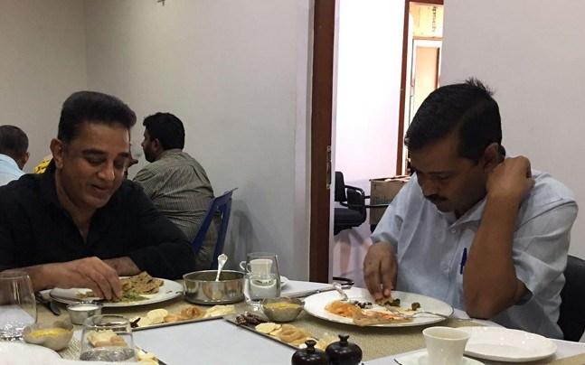 Delhi Chief Minister Arvind Kejriwal meets Kamal Haasan at Chennai residence