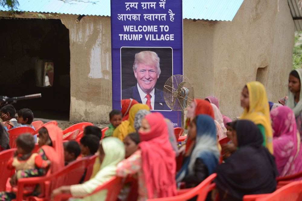 "Residents of Marora, a village about 100 km from Delhi, have tried renaming the place ""Trump Village."" Photographer: Money Sharma/AFP/ via Getty Images"