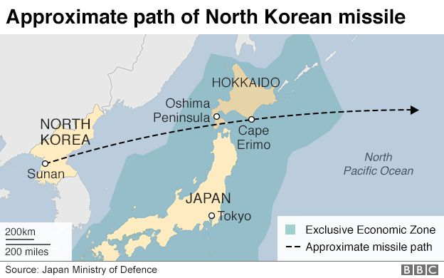 Tensions rise as North Korea fires missile over Japan