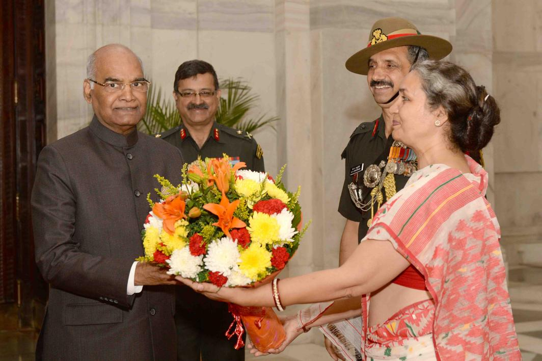 WE STAND WITH YOU: President Ram Nath Kovind is presented a flower bouquet by Territorial Army officers at Rashtrapati Bhavan, in New Delhi, UNI
