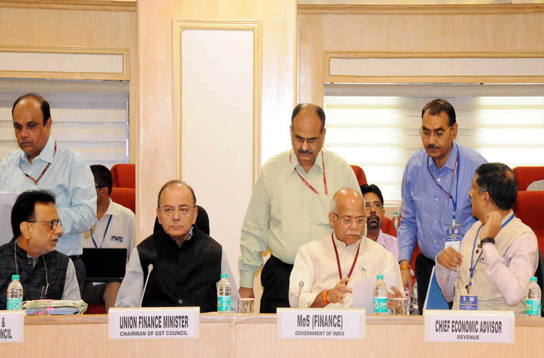 TIME TO RETHINK: Union finance minister Arun Jaitley, MoS Shiv Pratap Shukla, Chief Economic Advisor Arvind Subramanian and others attend the 22nd Meeting of the Goods and Service Tax Council in New Delhi, UNI