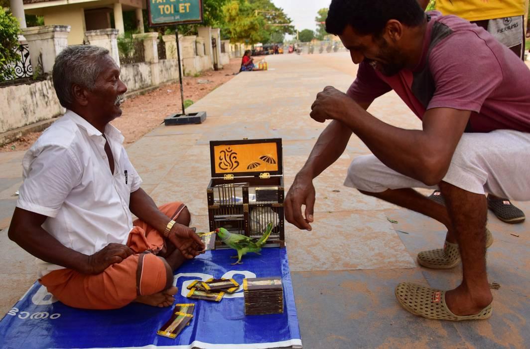 WORKING, RELAXING: A fortune-teller at Shanghumugham beach, in Thiruvananthapuram, UNI