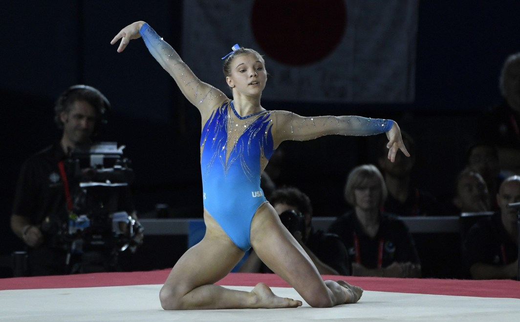 GRACE IN MOTION: Jade Carey of the United States competes on the floor exercise during the 47th FIG Artistic Gymnastics World Championships at Montreal Olympic Stadium, Eric Bolte/USA Today/Reuters/UNI