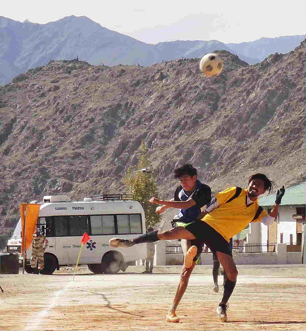 SPORTING HIGH: Youths from villages situated at 11,000 to 14,500 feet participate in Hi -Altitude Football Tournament organised by ITBP in Leh, UNI