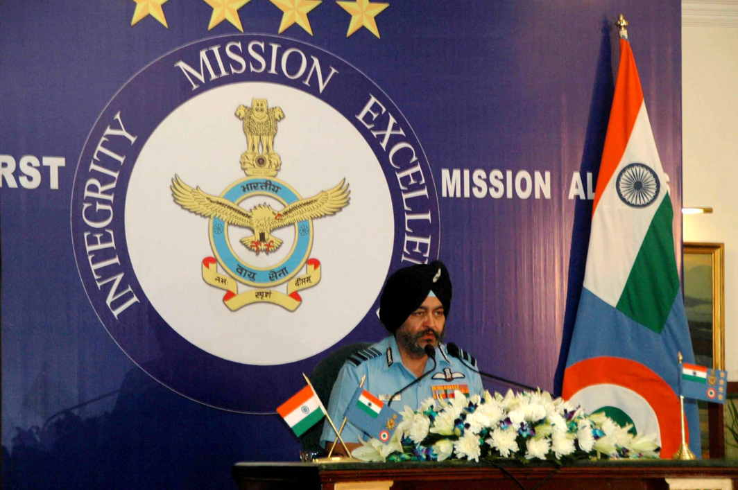 WHO WE ARE: Air Chief Marshal Birender Singh Dhanoa addresses a press conference ahead of Air Force Day celebrations in New Delhi, UNI