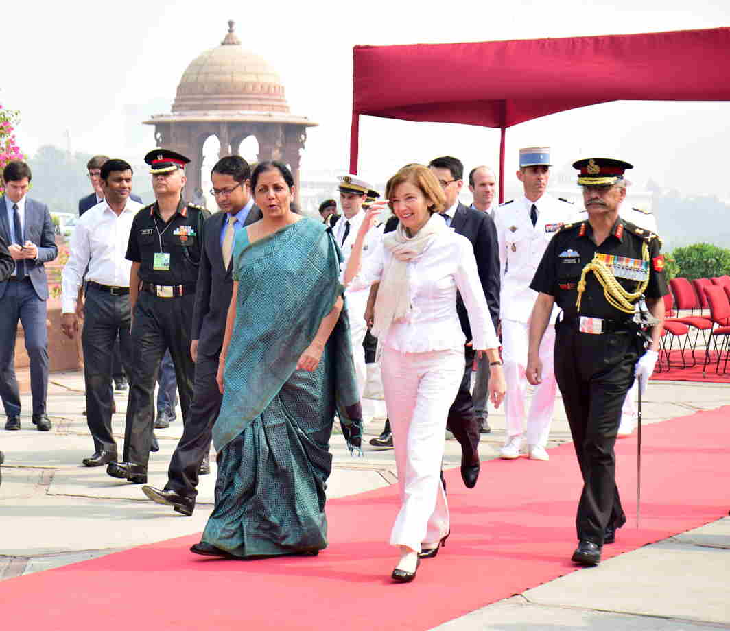 MEETING OF STRENGTHS: French Defence Minister Florence Parly received by her Indian counterpart Nirmala Sitharaman for a meeting at South Block in New Delhi, UNI
