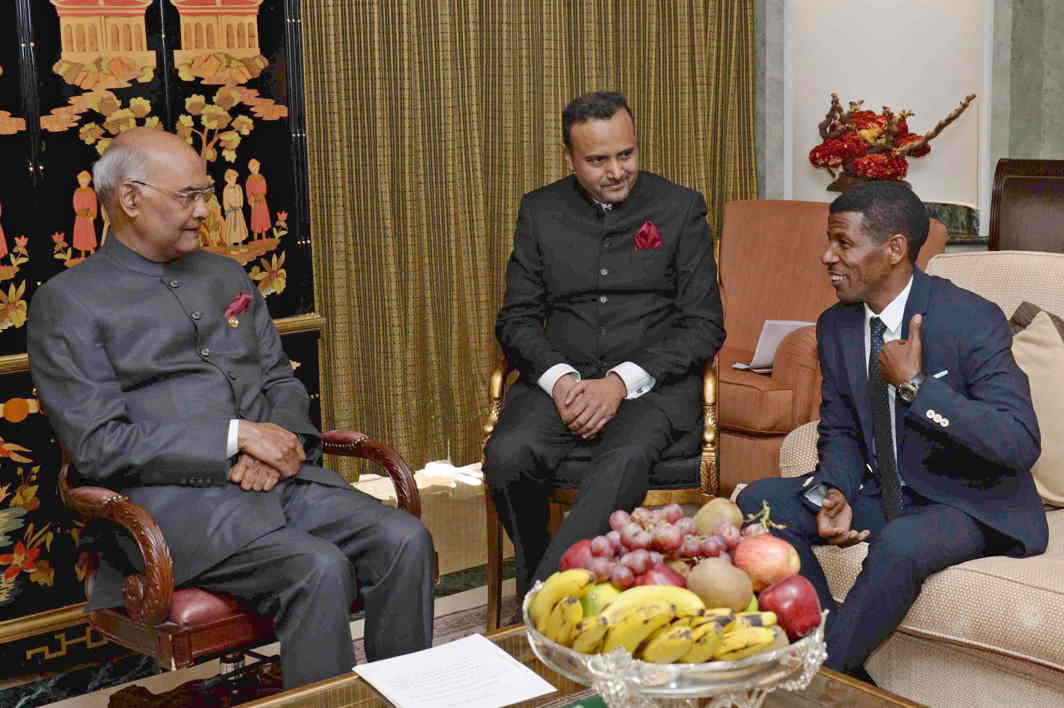 HOW SPECIAL TO MEET YOU: Ethiopian athlete Haile Gebrselassie calls on President Ram Nath Kovind at Hotel Sheraton Addis in Ethiopia, UNI