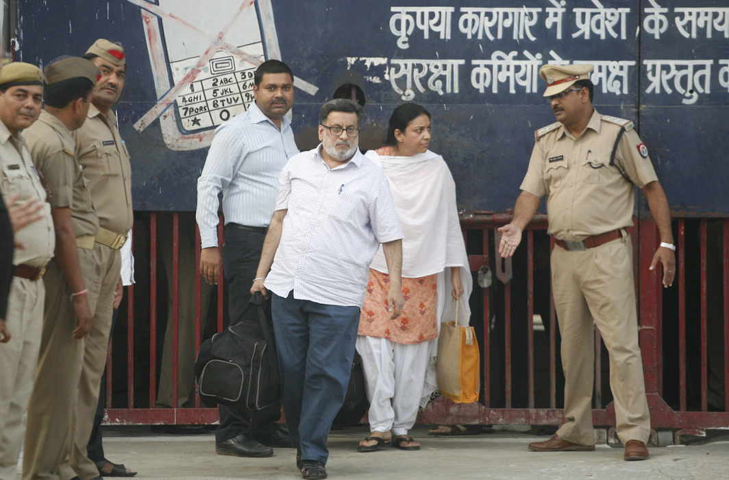 Rajesh and Nupur Talwar leaving Ghaziabad's Dasna Jail on Monday Photo Credit: Anil Shakya