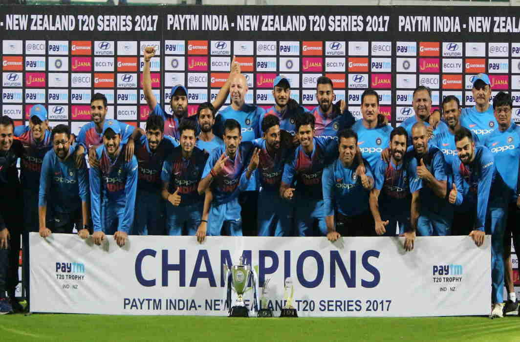 CLOSE FINISH: Indian cricketers lift the trophy, after winning the third and last T-20 match of the series against New Zealand in Thiruvananthapuram, UNI