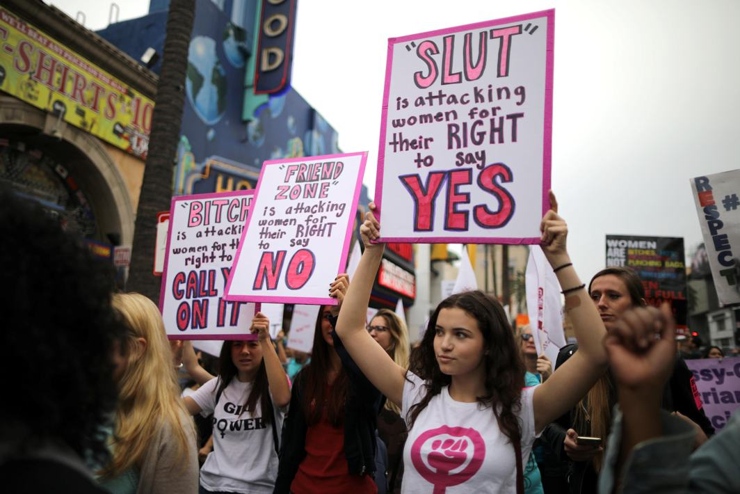 ARTICULATING INJUSTICE: People participate in a protest march for survivors of sexual assault and their supporters in Hollywood, Los Angeles, California, US, Reuters/UNI