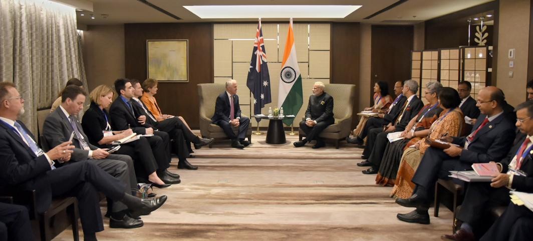 TABLE TALK: Prime Minister Narendra Modi meets the prime minister of Australia. Malcolm Turnbull, in Manila, Philippines, UNI