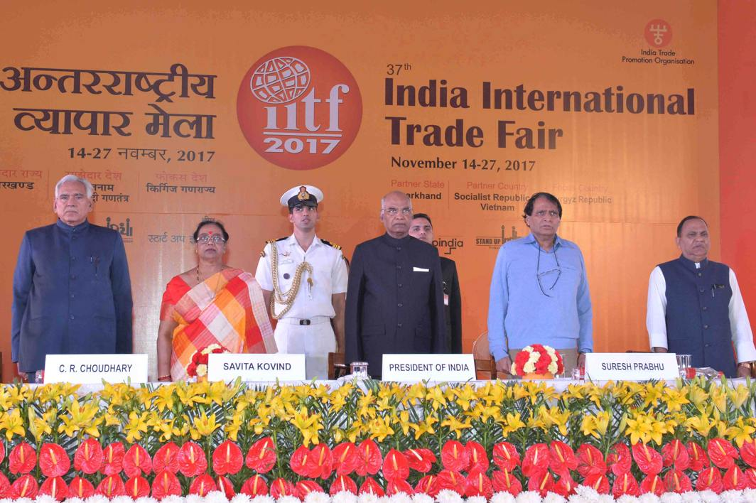 DOING THE HONOURS: President Ram Nath Kovind and Union Minister for Commerce and Industry Suresh Prabhu during the inauguration of 37th India International Trade Fair 2017 at Pragati Maidan, in New Delhi, UNI