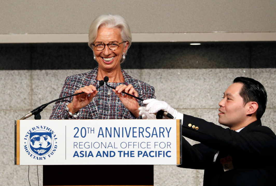 GRAND OLD LADY OF FINANCE: International Monetary Fund (IMF) Managing Director Christine Lagarde attends a seminar to mark the 20th anniversary of the launch of IMF's Asia-Pacific Office, in Tokyo, Japan, Reuters/UNI