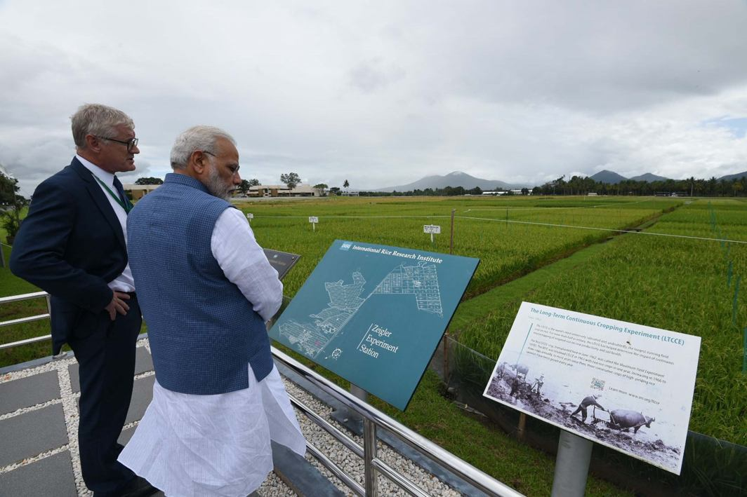 WHAT'S ON HIS MIND? Prime Minister Narendra Modi visits International Rice Research Institute (IRRI) in Los Banos, Philippines, UNI
