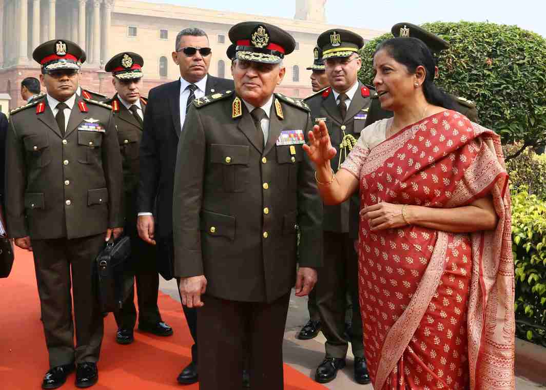 SHOWING HIM AROUND: Defence Minister of the Arab Republic of Egypt General Sedki Sobhy being received by Defence Minister Nirmala Sitharaman at South Block, in New Delhi, UNI