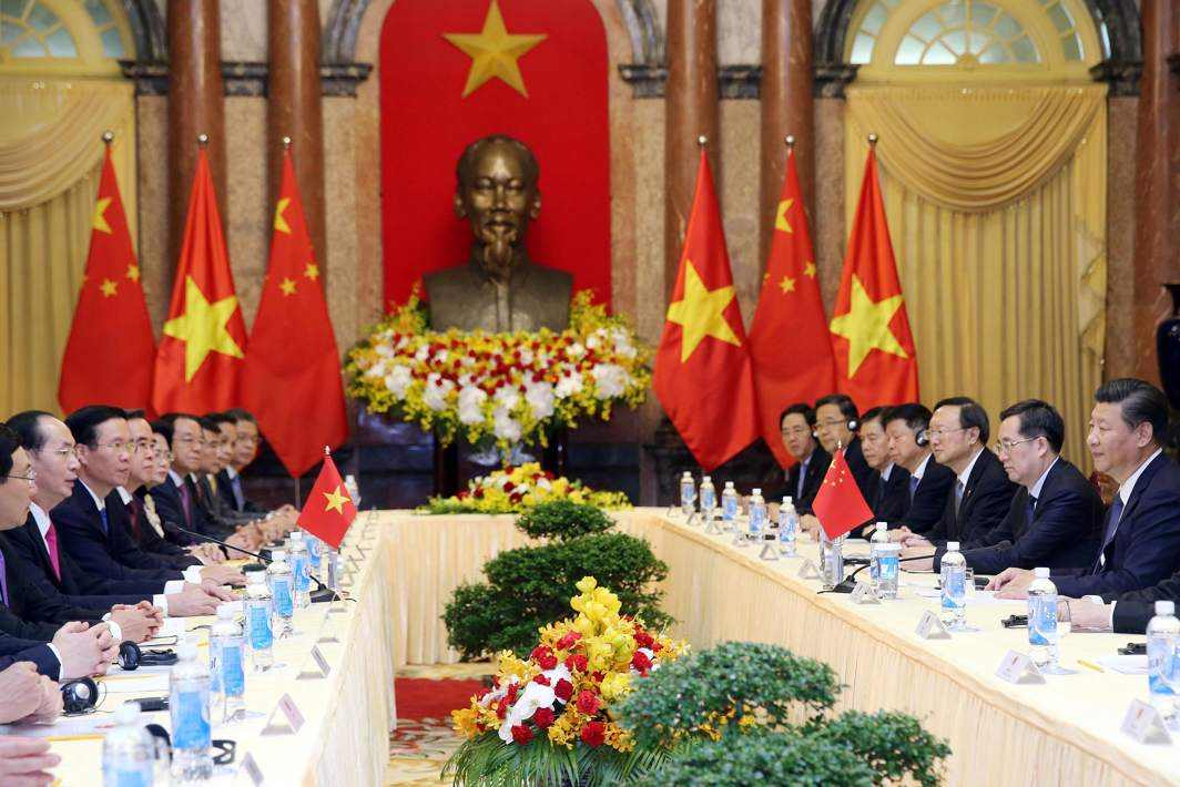 CONSOLIDATE TIE: Chinese President Xi Jinping listens as Vietnamese President Tran Dai Quang speaks at the Presidential Palace in Hanoi, Vietnam, Reuters/UNI
