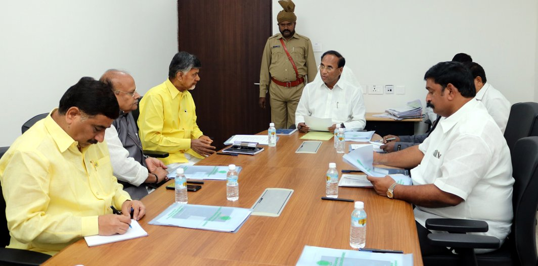 IN THE HOT SEAT: Andhra Pradesh Assembly Speaker Kodela Shiva Prasada Rao chairs a Business Advisory Committee meeting attended by Chief Minister N Chandrababu Naidu, Finance Minister Y Ramakrishndu and BJP MLA Vishnukumar Raju on the first day of the assembly session, in Amaravati, UNI