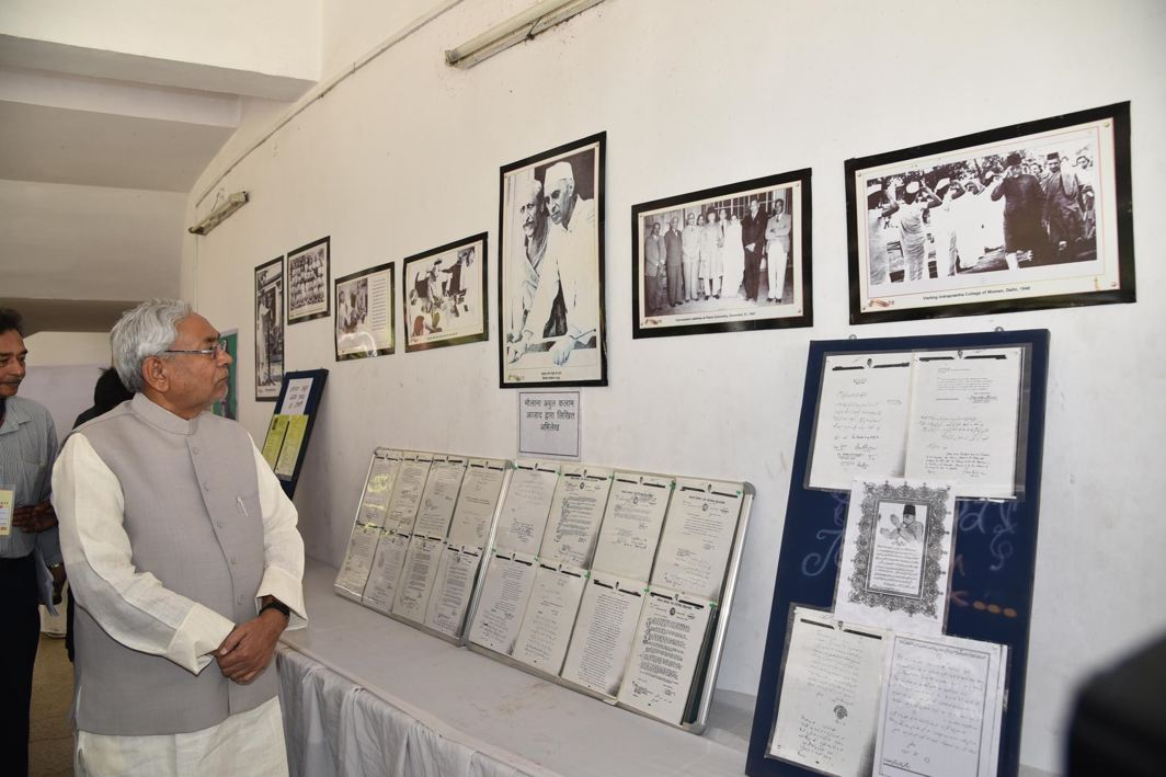 LEAD BY EXAMPLE: Bihar Chief Minister Nitish Kumar visits an exhibition on Maulana Abul Kalam Azad on his 129th birth anniversary after attending a Shikshak Diwas function, in Patna, UNI