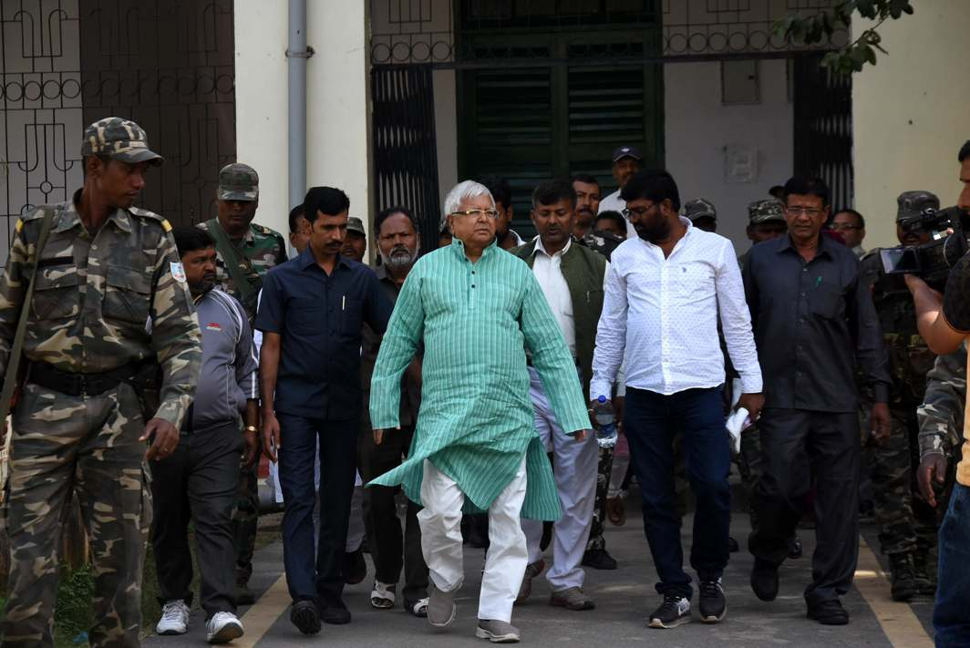 JUSTICE AWAITED: Former Bihar Chief Minister and RJD supremo Lalu Prasad Yadav arrives to appear at the special CBI court in connection with the multi-crore fodder scam case, in Ranchi, UNI