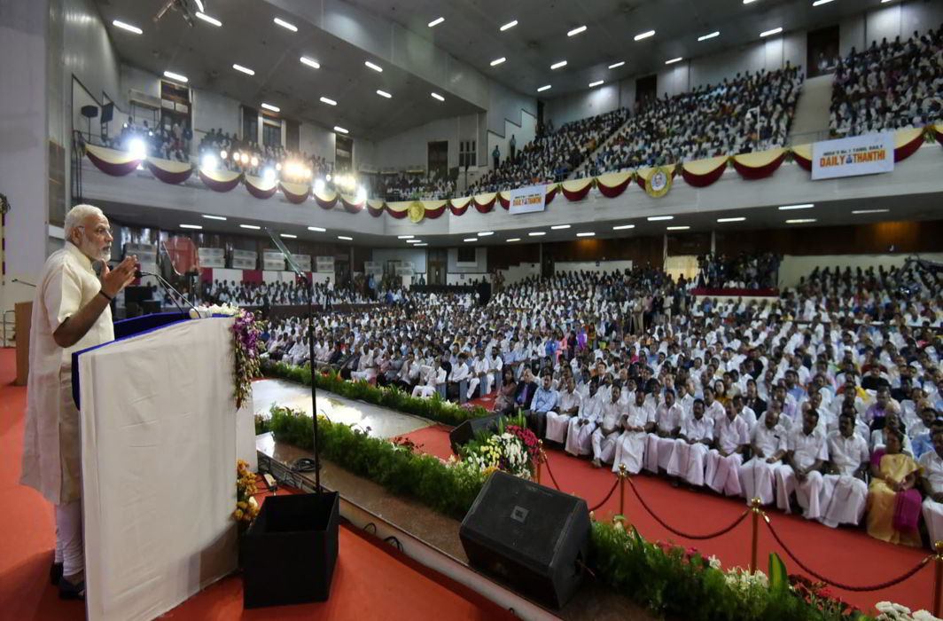 Prime Minister Narendra Modi addressing an event at Madras University Centenary Auditorium in Chennai to mark the Platinum Jubilee of Tamil newspaper Daily Thanthi. Photo credit: PIB