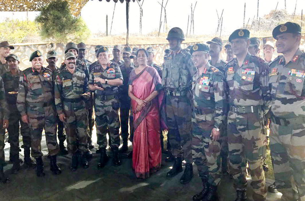 Union defence minister Nirmala Sitharaman interacting with Army officers and jawans, at Kibithu forward post in Arunachal Pradesh on Sunday. Photo credit: PIB