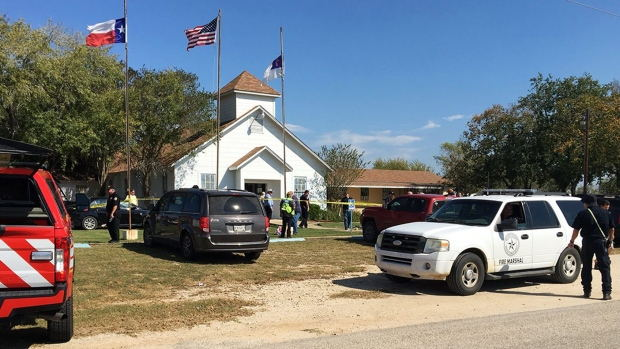 The Baptist church in Sutherland Springs, Texas where 26 men were killed, 20 others injured in a gun attack on Sunday. Photo credit: CBC