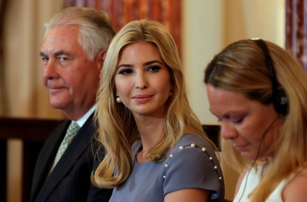 US Secretary of State Rex Tillerson with Ivanka Trump (centre), daughter and senior advisor to US President Donald Trump. Photo credit: Agencies