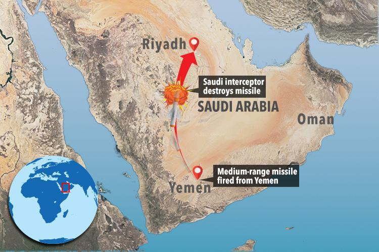 Saudi Arabia intercepts ballistic missile northeast of Riyadh
