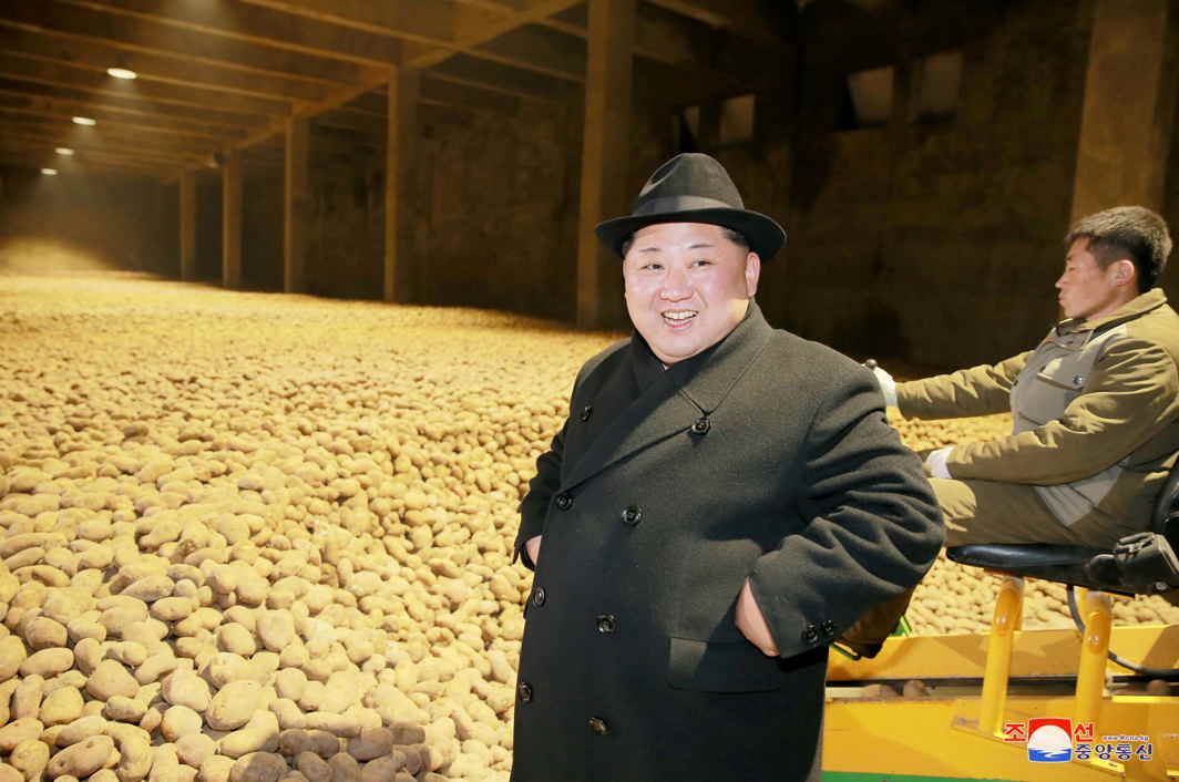 POTATO KING: North Korea's leader Kim Jong Un is seen during the inspection of a potato flour factory in Pyongyang, KCNA/Reuters/UNI