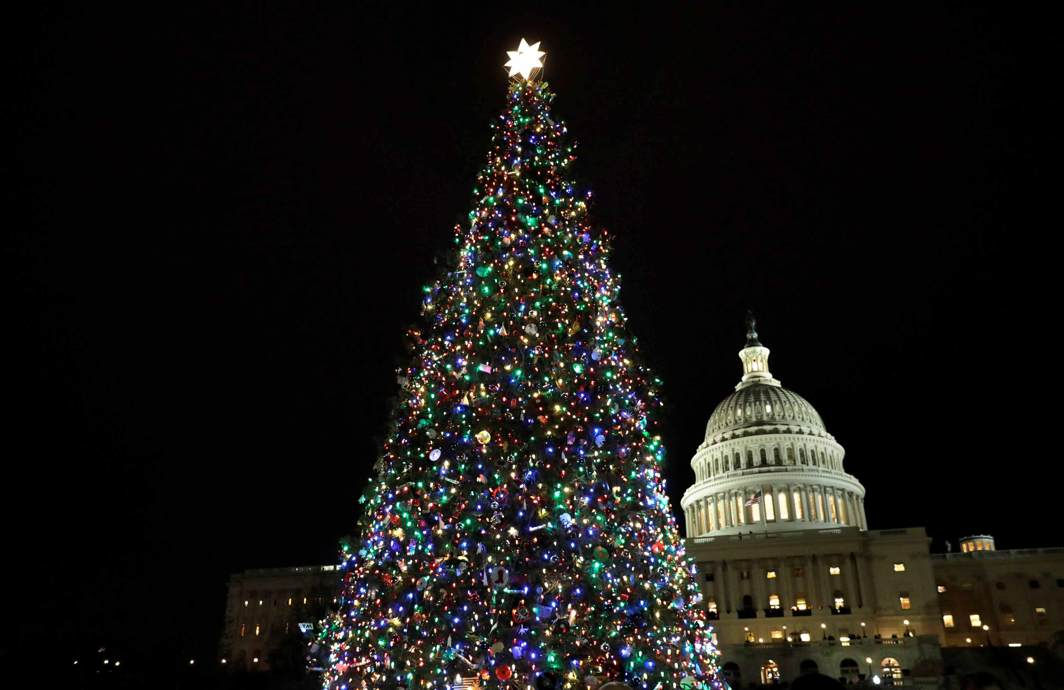HIGHER DESIRE: The Capitol Christmas Tree, a 79-foot-tall Engelmann Spruce grown in Montana, is lit on West Front Lawn of the US Capitol in Washington, Reuters/UNI