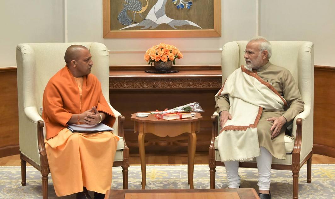 COMMON INTERESTS: Uttar Pradesh Chief Minister Yogi Adityanath calls on Prime Minister Narendra Modi, in New Delhi, UNI