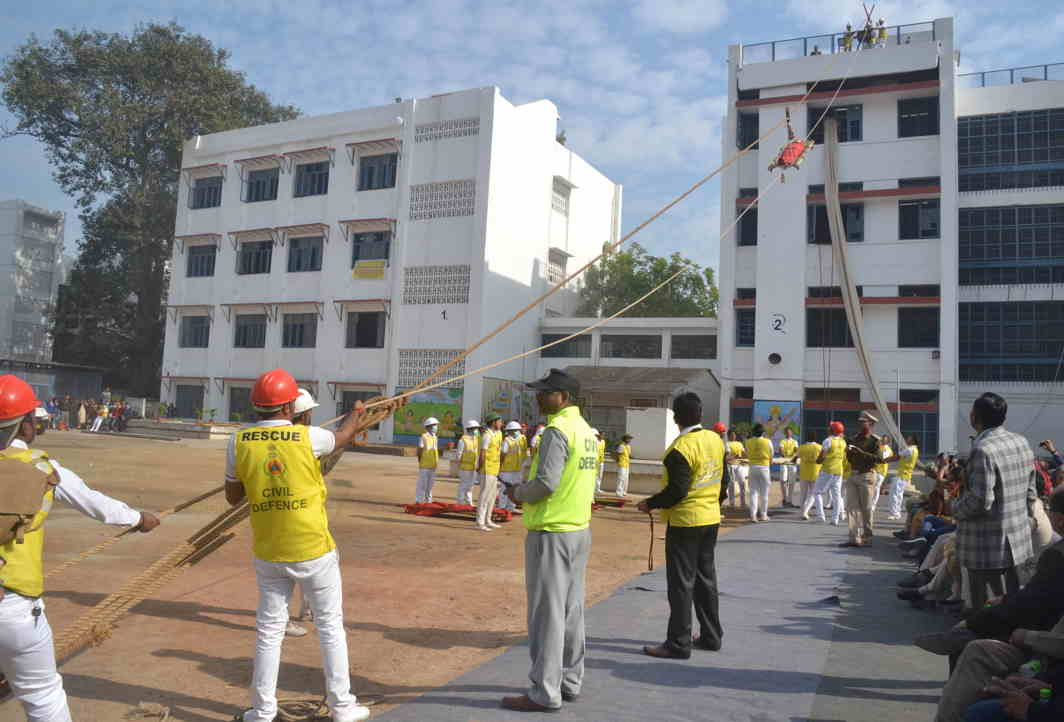 HOW TO HELP: Civil defence volunteers demonstrate a rescue drill on the occasion of Civil Defence Raising Day-2017 in New Delhi, UNI