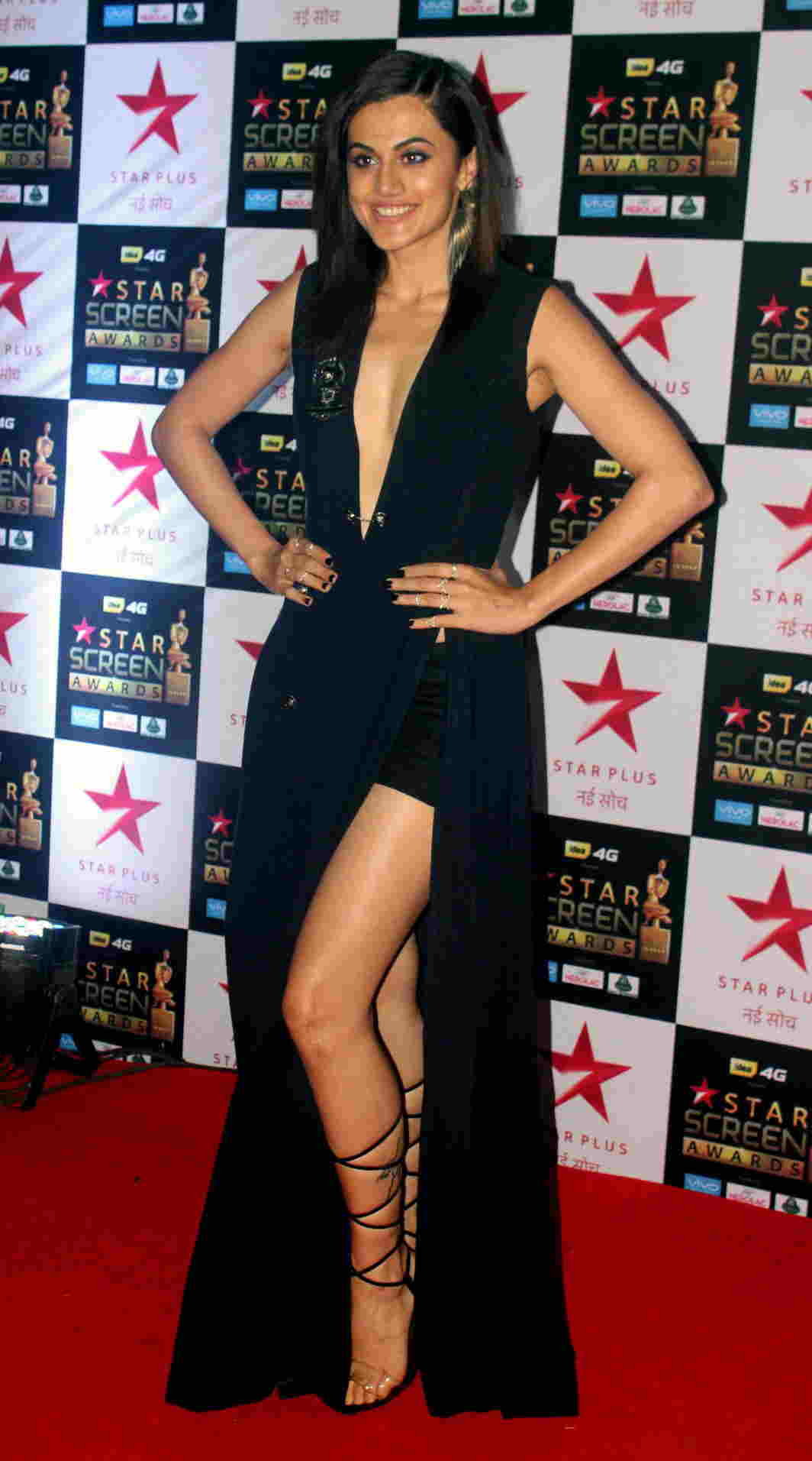 HELLO THERE: Bollywood actor Taapsee Pannu poses during the presentation of Star Screen Awards, in Mumbai, UNI