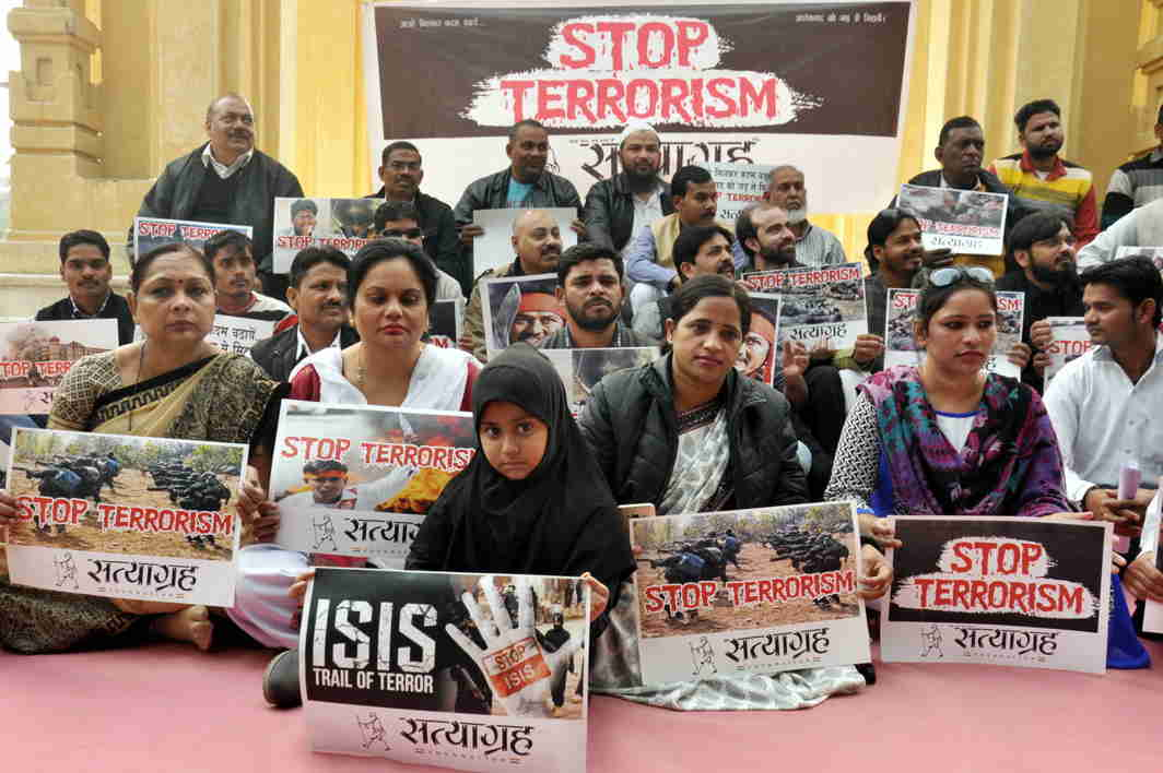 SPARE US: Anti-terrorism activists sit on dharna in Lucknow, UNI