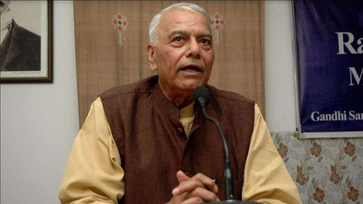 After Detention, Yashwant Sinha Protests At Police Ground