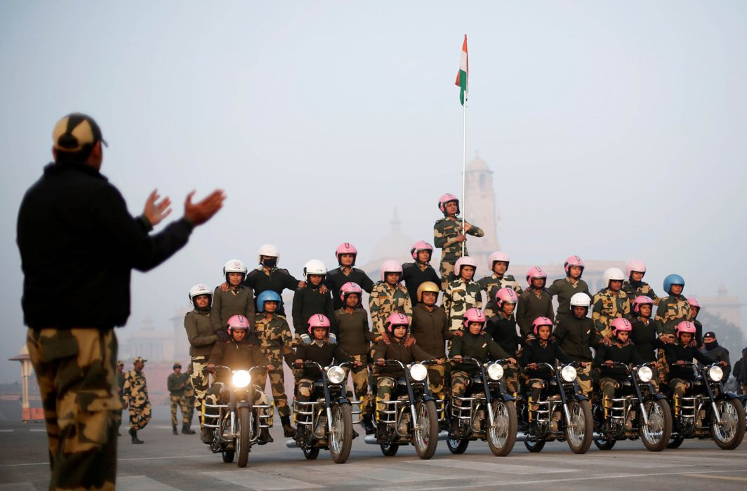"DAREDEVILS: India's Border Security Force (BSF) ""Daredevils"" women motorcycle riders perform during a rehearsal for the Republic Day parade on a cold winter morning in New Delhi, India, Reuters/UNI"
