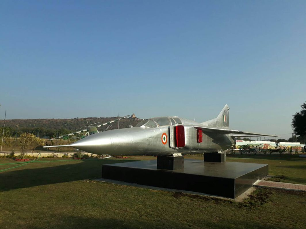 STRONG ARMS: A MIG 29 fighter of Indian Air Force installed at the Bhopal Cantonment area ahead of Army Day celebrations, UNI