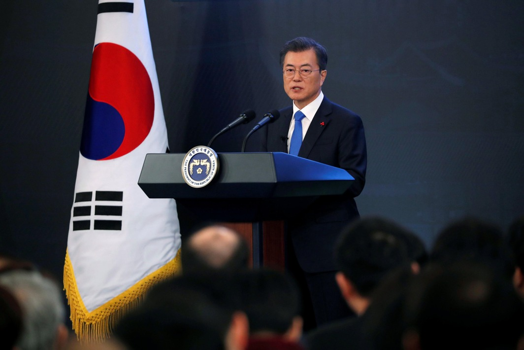 WARMING TIES: South Korean President Moon Jae-in delivers a speech during his New Year news conference at the Presidential Blue House in Seoul, South Korea, Reuters/UNI