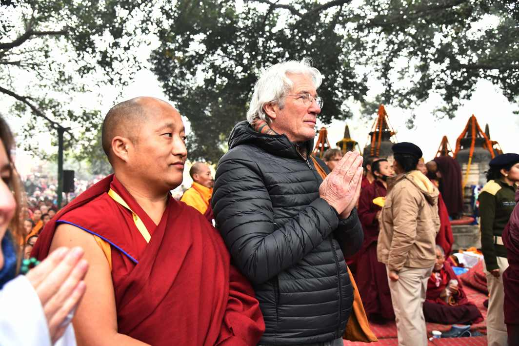 GUEST WORSHIPPER: Hollywood actor Richard Gere prays during Tibetan spiritual leader, The Dalai Lama's visit, at the World Heritage Mahabodhi Temple in Bodh Gaya, UNI