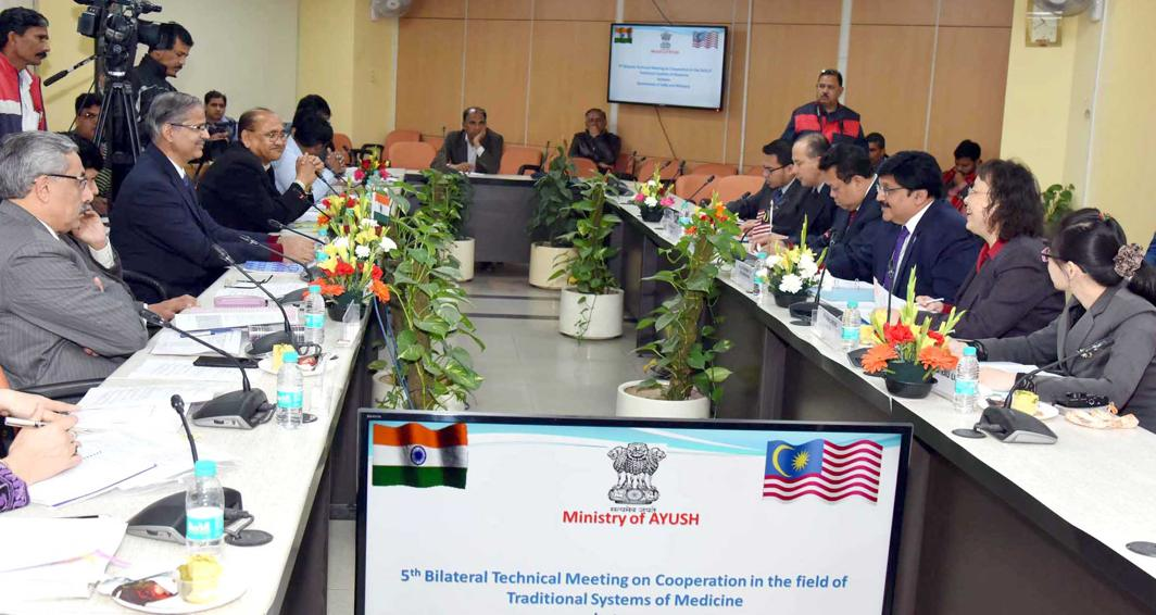 HEAL THE WORLD: Joint Secretary, Ministry of AYUSH, PK Pathak, along with the senior officers of the Ministry of AYUSH and a delegation from Malaysia, in a 5th bilateral technical meeting on cooperation in the field of the traditional system of medicine between India and Malaysia, in New Delhi, UNI
