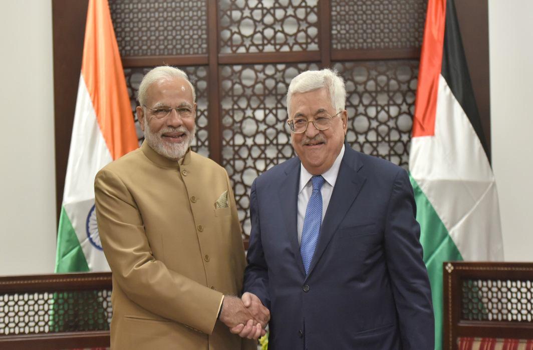 UNITED STAND: Prime Minister Narendra Modi meets Mahmoud Abbas, Palestinian president, PIB