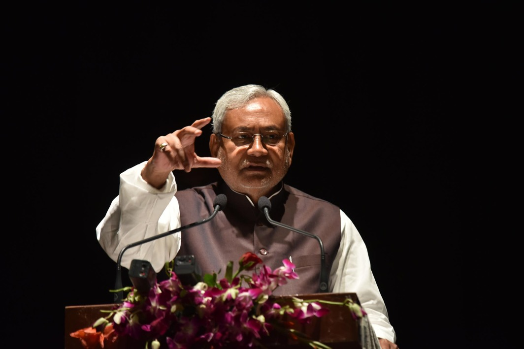 GREENING THE STATE: Bihar Chief Minister Nitish Kumar addresses the gathering during an agriculture forestry communication program in Patna, UNI