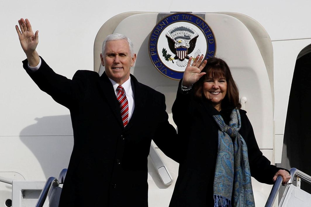 HELLO FRIENDS: US Vice-President Mike Pence and his wife Karen wave as they depart for South Korea, at Yokota US Air Force Base in Fussa, on the outskirts of Tokyo, Japan, Reuters/UNI