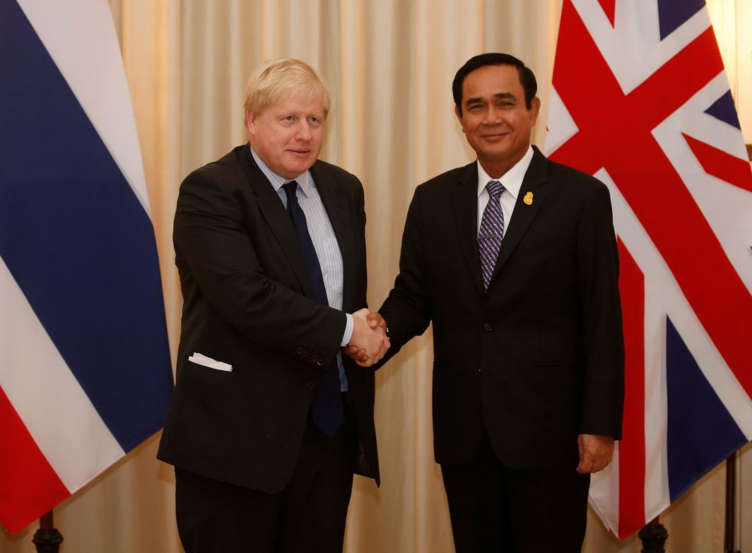 HELLO: Britain's Secretary of State for Foreign and Commonwealth Affairs Boris Johnson is greeted by Thailand's Prime Minister Prayut Chan-ocha during their meeting at the Government House, in Bangkok, Thailand, Reuters/UNI